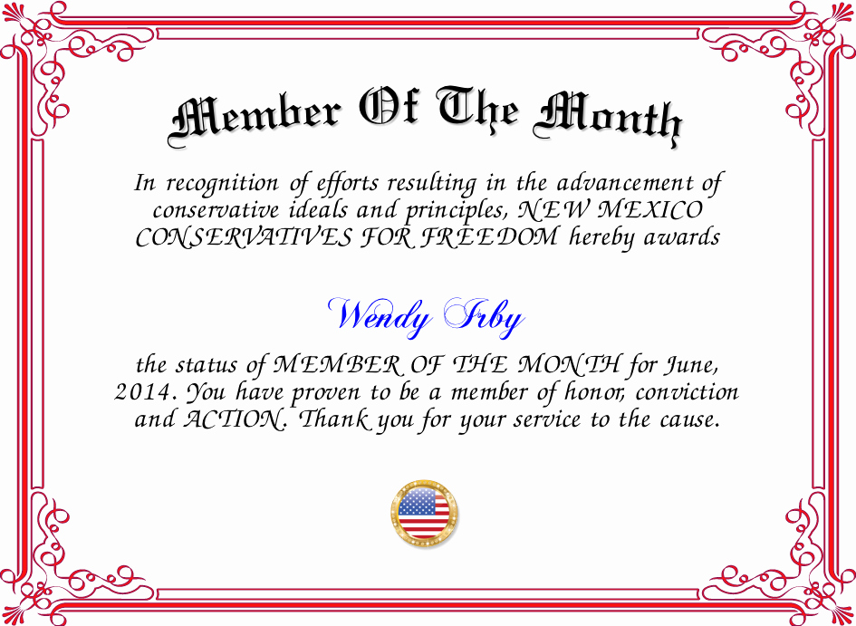 Member Of the Month Certificate Awesome Member the Month Certificate