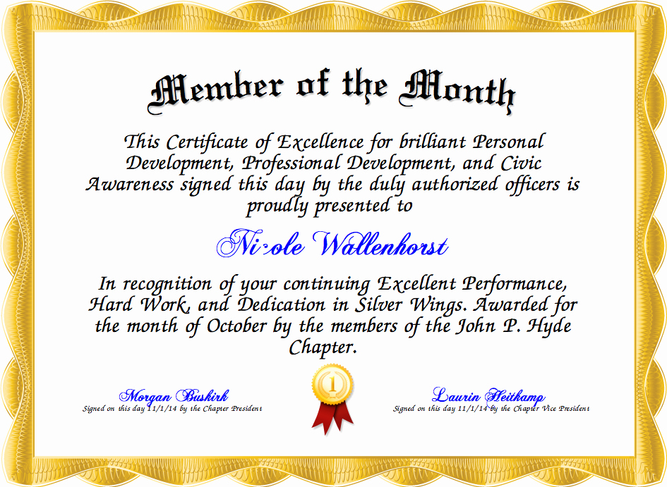 Member Of the Month Certificate Elegant Member Of the Month Certificate