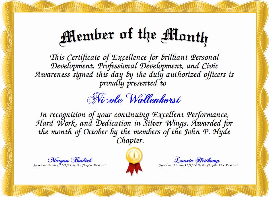 Member Of the Month Certificate Elegant Member Of the Month Certificate