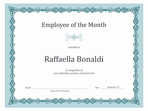 Member Of the Month Certificate Fresh Employee the Month Template