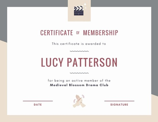 Member Of the Month Certificate New Customize 64 Membership Certificate Templates Online Canva