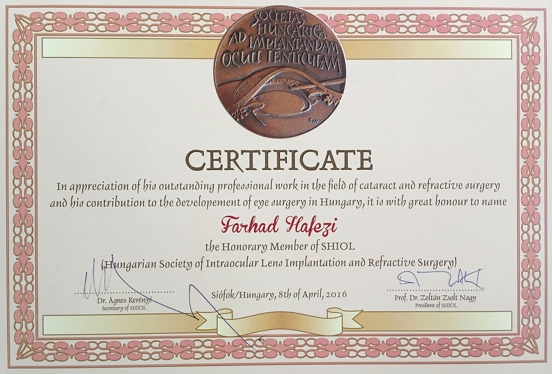 Member Of the Month Certificate Unique April 2016 Farhad Hafezi to Be E Honorary Member Of
