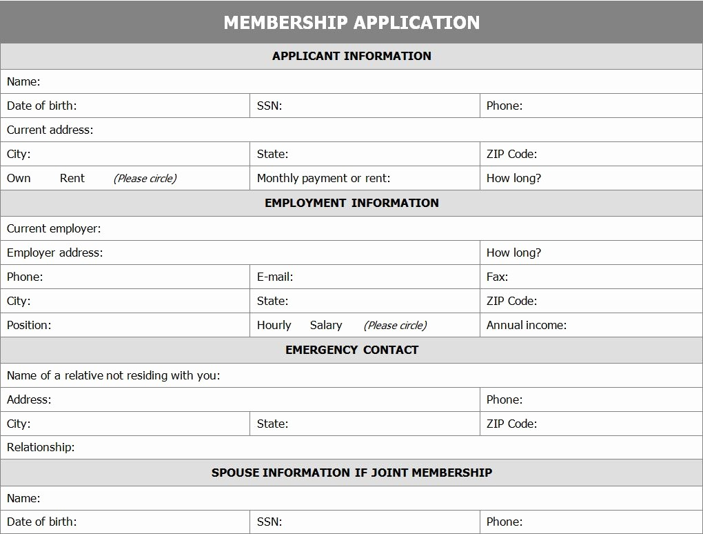 Membership Card Template Microsoft Word Fresh Membership Application form