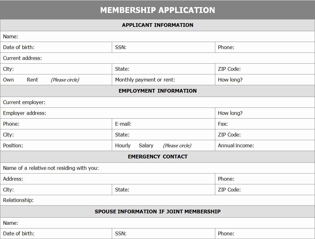 Membership Card Template Microsoft Word Fresh Membership Application form