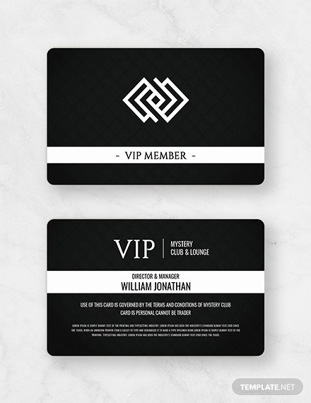 Membership Card Template Microsoft Word Luxury Free Club Vip Membership Card Template Download 233
