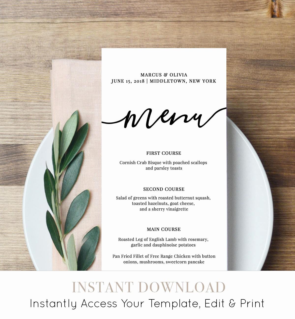 Menu Card Template Free Download Awesome Menu Card Template Printable Wedding Menu Modern Calligraphy