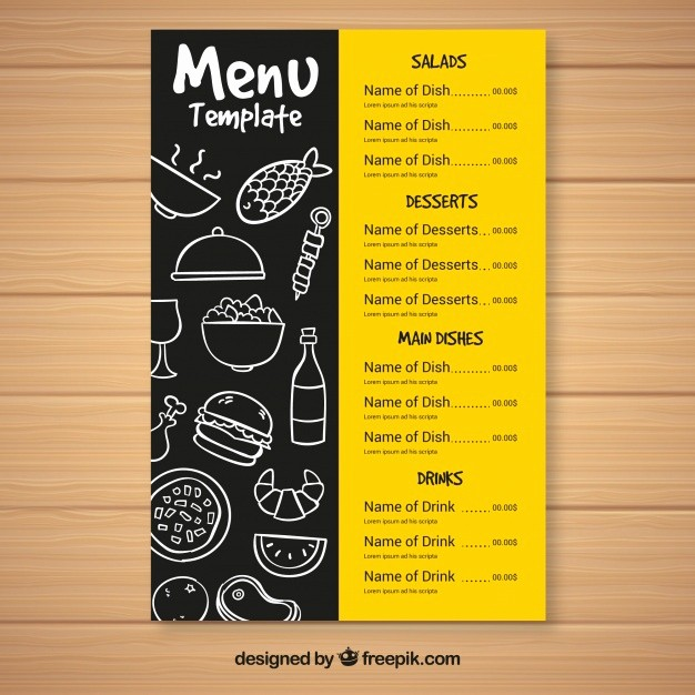 Menu Card Template Free Download Beautiful Fast Food Menu Template Vector