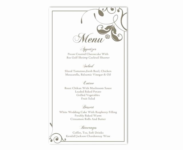 Menu Card Template Free Download Beautiful Wedding Menu Template Diy Menu Card Template Editable Text