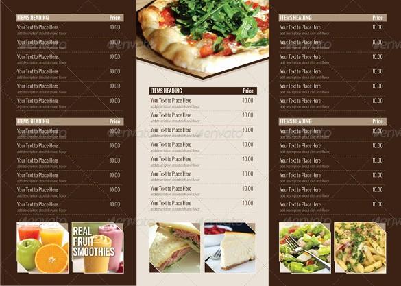 Menu Card Template Free Download Best Of 22 Tri Fold Menu Templates – Free Sample Example format