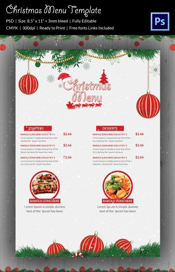 Menu Card Template Free Download Elegant Christmas Menu Template 37 Free Psd Eps Ai
