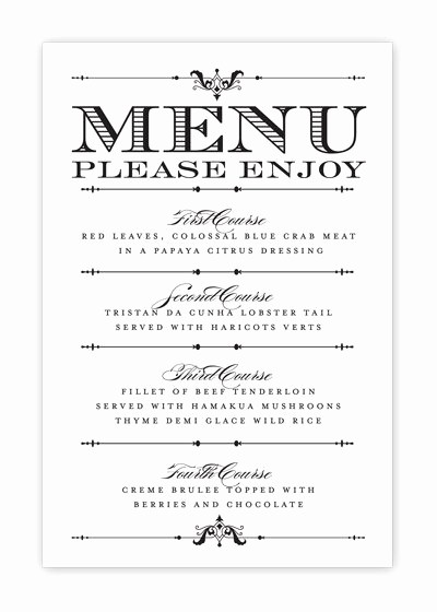 Menu Card Template Free Download Inspirational Free Printable Wedding Menu Templates