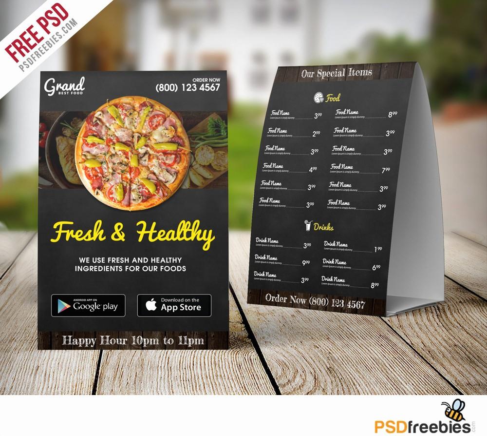 Menu Card Template Free Download Inspirational Restaurant Table Tent Menu Template Free Psd Download