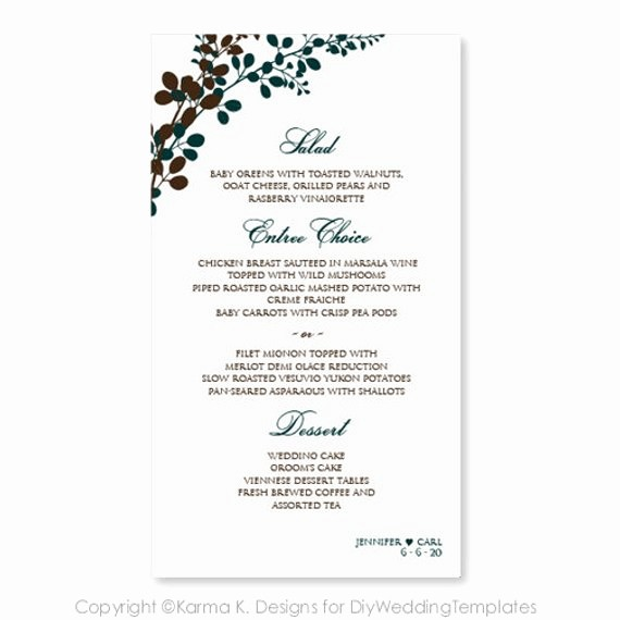 Menu Card Template Free Download Inspirational Wedding Menu Card Templates Free Matik for