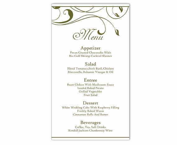 Menu Card Template Free Download Inspirational Wedding Menu Template Diy Menu Card Template Editable Text