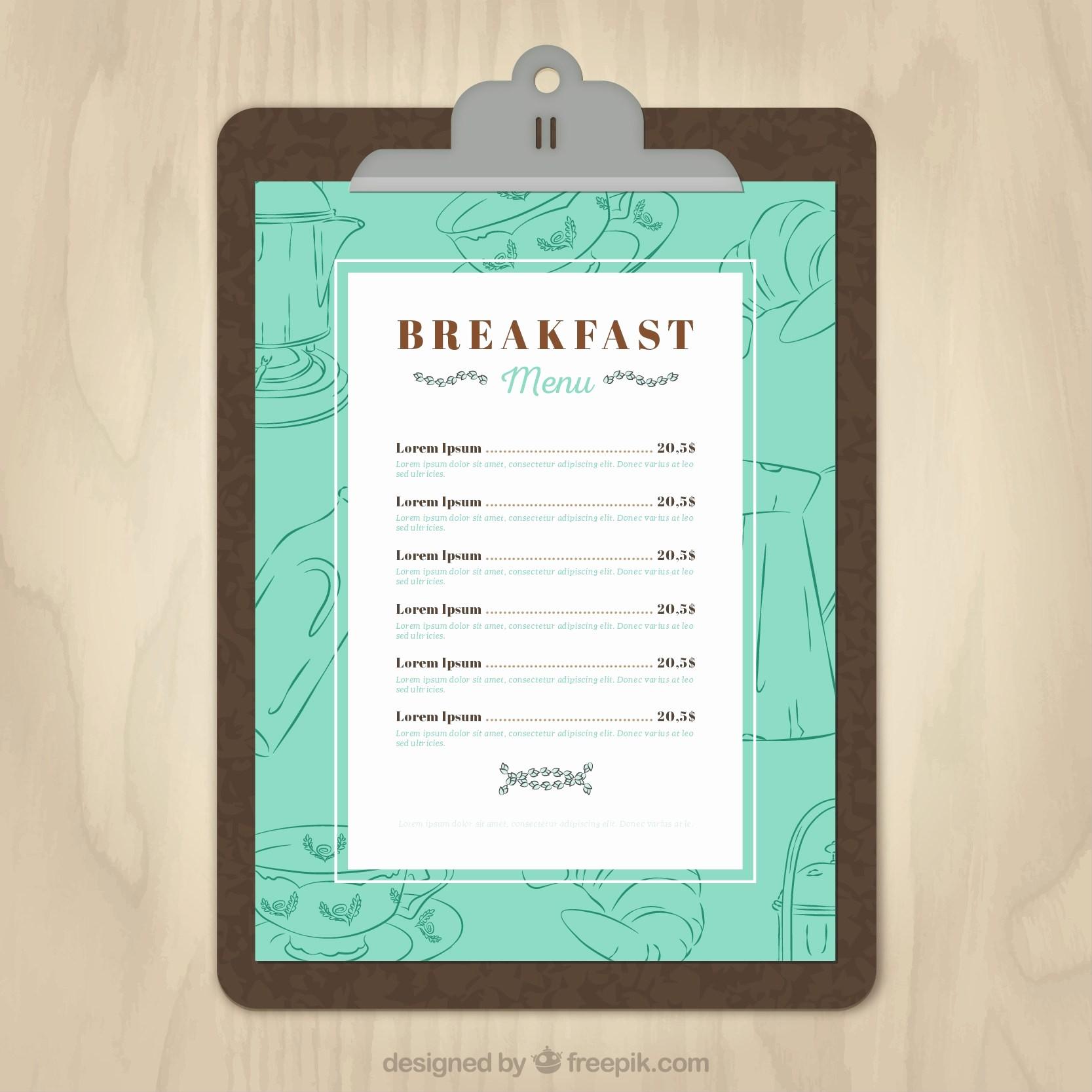 Menu Card Template Free Download Lovely 11 Free Sample Breakfast Menu Templates Printable Samples