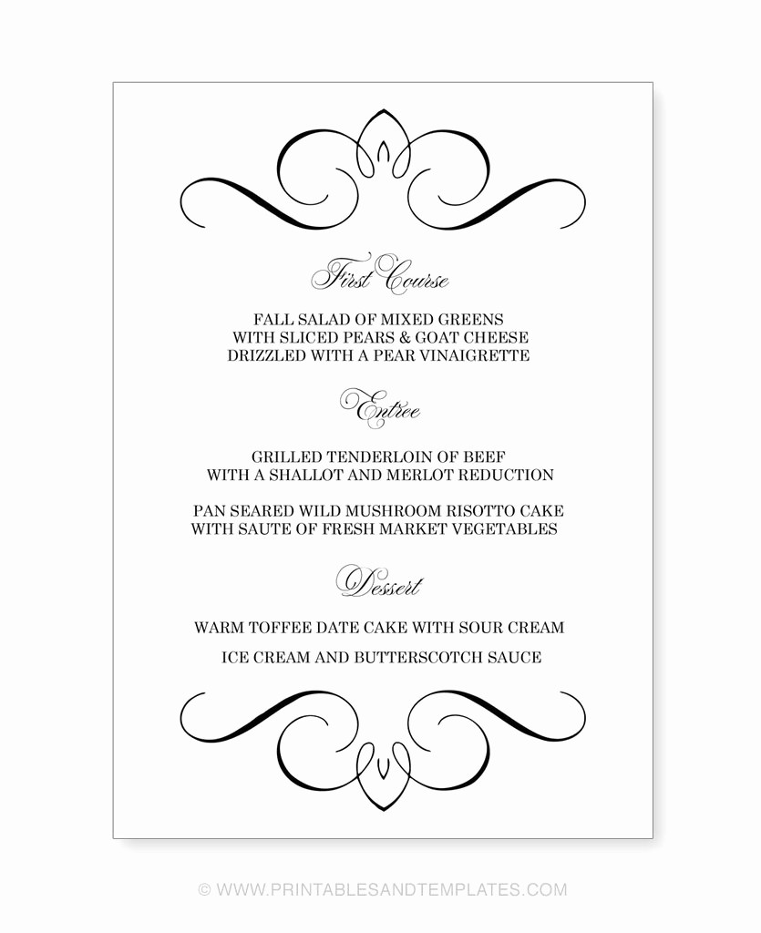 Menu Card Template Free Download Lovely Menu Template Free Printable