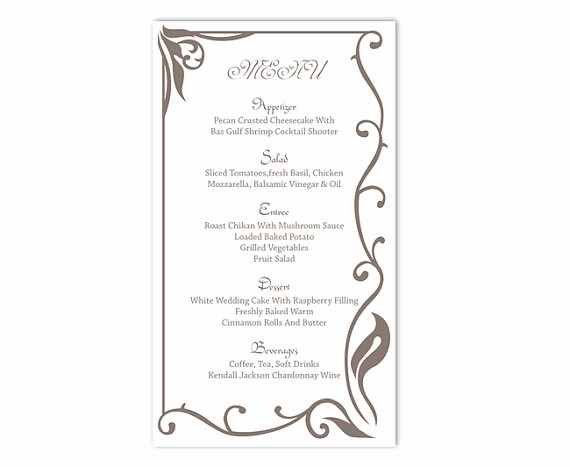 Menu Card Template Free Download Lovely Wedding Menu Template Diy Menu Card Template Editable Text