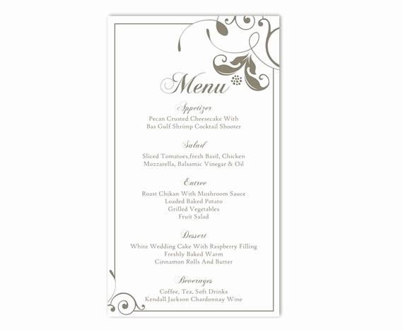 Menu Card Template Free Download Luxury Wedding Menu Template Diy Menu Card Template Editable Text