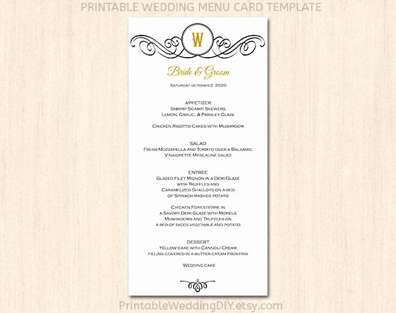 Menu Card Template Free Download New 7 Best Of Printable Wedding Menu Cards Templates