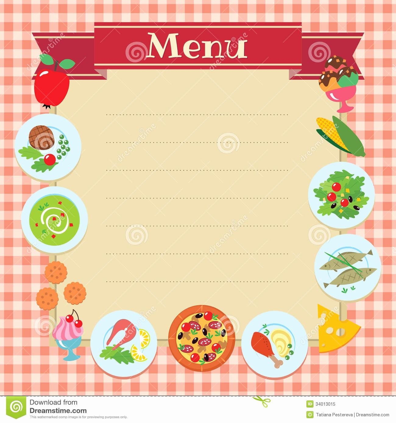 Menu Card Template Free Download New Cafe Restaurant Menu Template Stock Vector