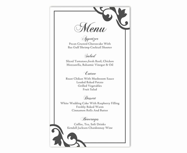 Menu Card Template Free Download Unique Wedding Menu Template Diy Menu Card Template Editable Text