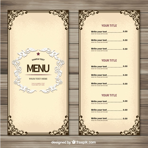 Menu Design Templates Free Download Lovely ornamental Menu Template Vector