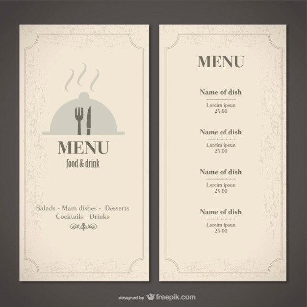 Menu Design Templates Free Download Luxury Classic Food Menu Template Vector