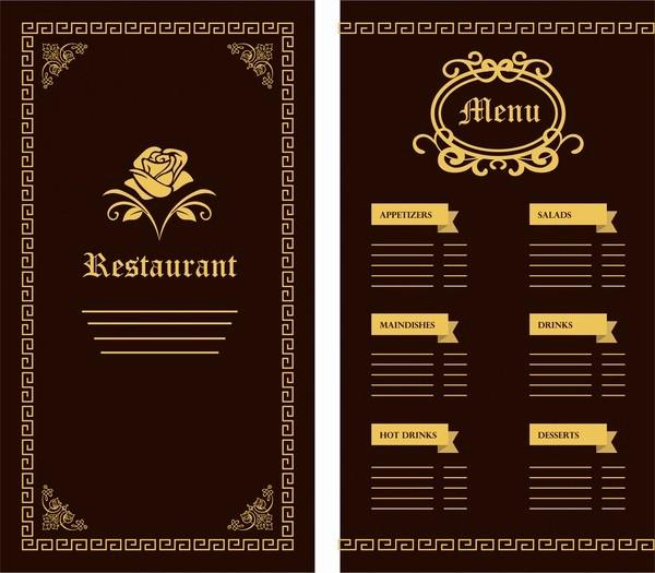 Menu Design Templates Free Download Luxury Restaurant Menu Template Free Vector 17 626 Free