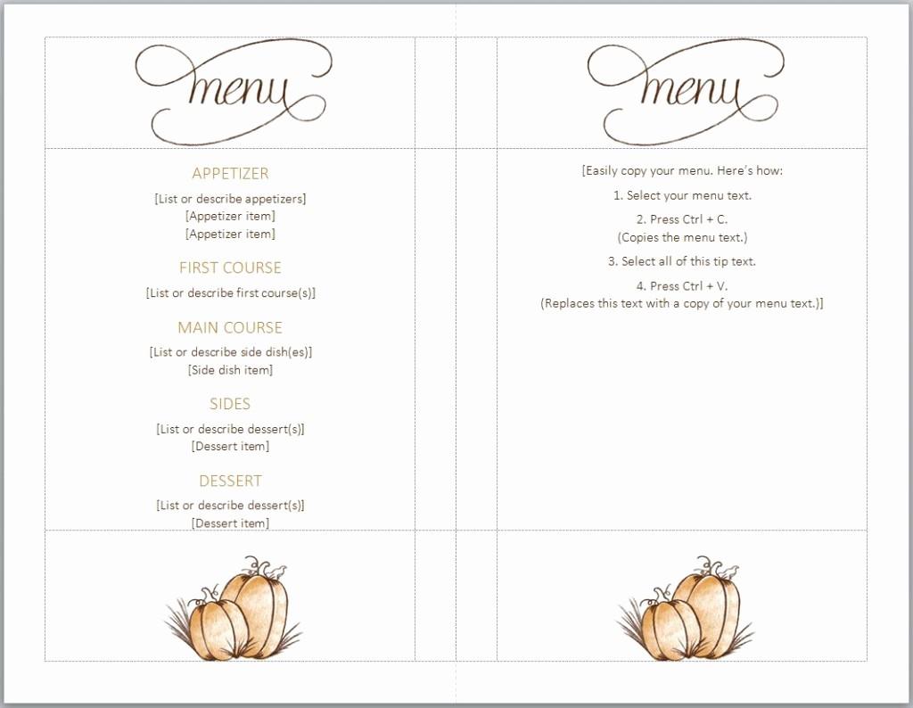 Menu Design Templates Free Download Luxury Thanksgiving Menu Template