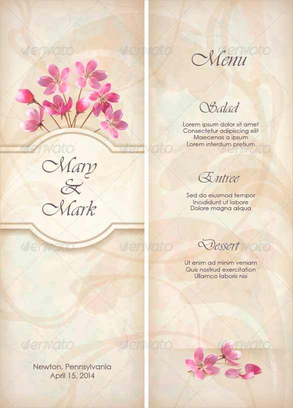 Menu Design Templates Free Download Unique 36 Wedding Menu Templates – Free Sample Example format