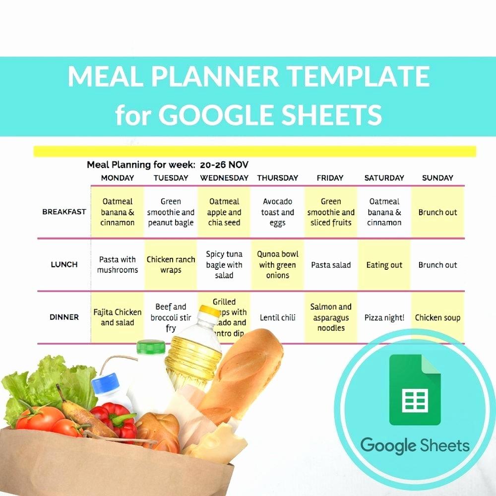 Menu Templates for Google Docs Awesome Meal Plan Template Google Docs