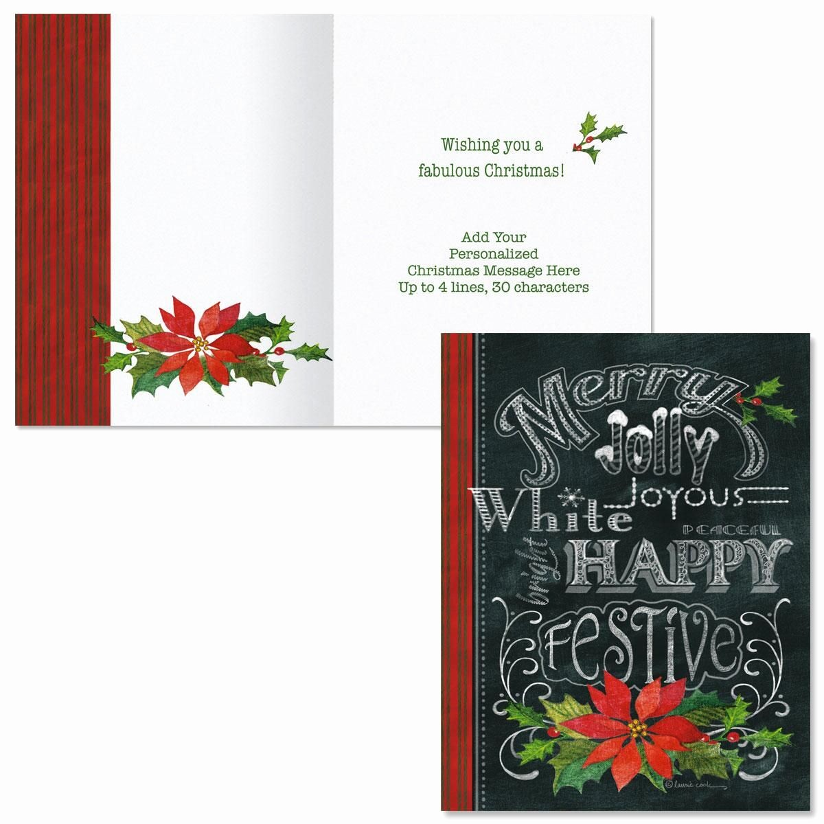 Merry Christmas Notes for Cards Elegant Merry Jolly Festive Note Card Size Christmas Cards