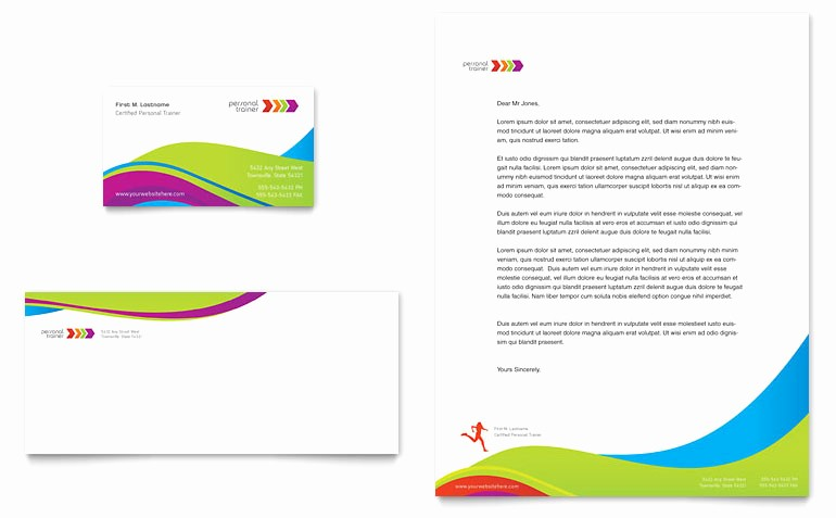 Microsoft Business Card Template Free Awesome Personal Trainer Business Card & Letterhead Template