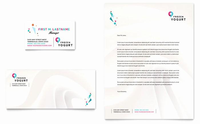 Microsoft Business Card Template Free Elegant Frozen Yogurt Shop Business Card & Letterhead Template