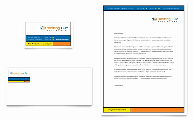 Microsoft Business Card Template Free Luxury Heating & Air Conditioning Business Card & Letterhead