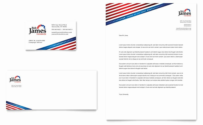 Microsoft Business Card Templates Free Luxury Political Campaign Business Card & Letterhead Template