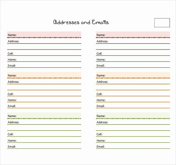 Microsoft Excel Address Book Template Lovely 10 Address Book Samples