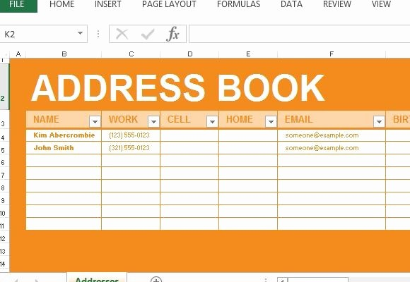 address book maker template for excel