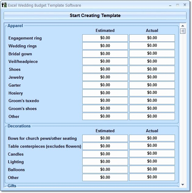excel wedding bud template software