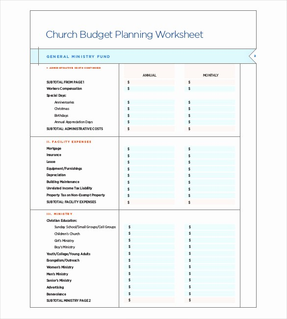 Microsoft Excel Church Budget Template Unique 9 Church Bud Template Doc Excel Pdf