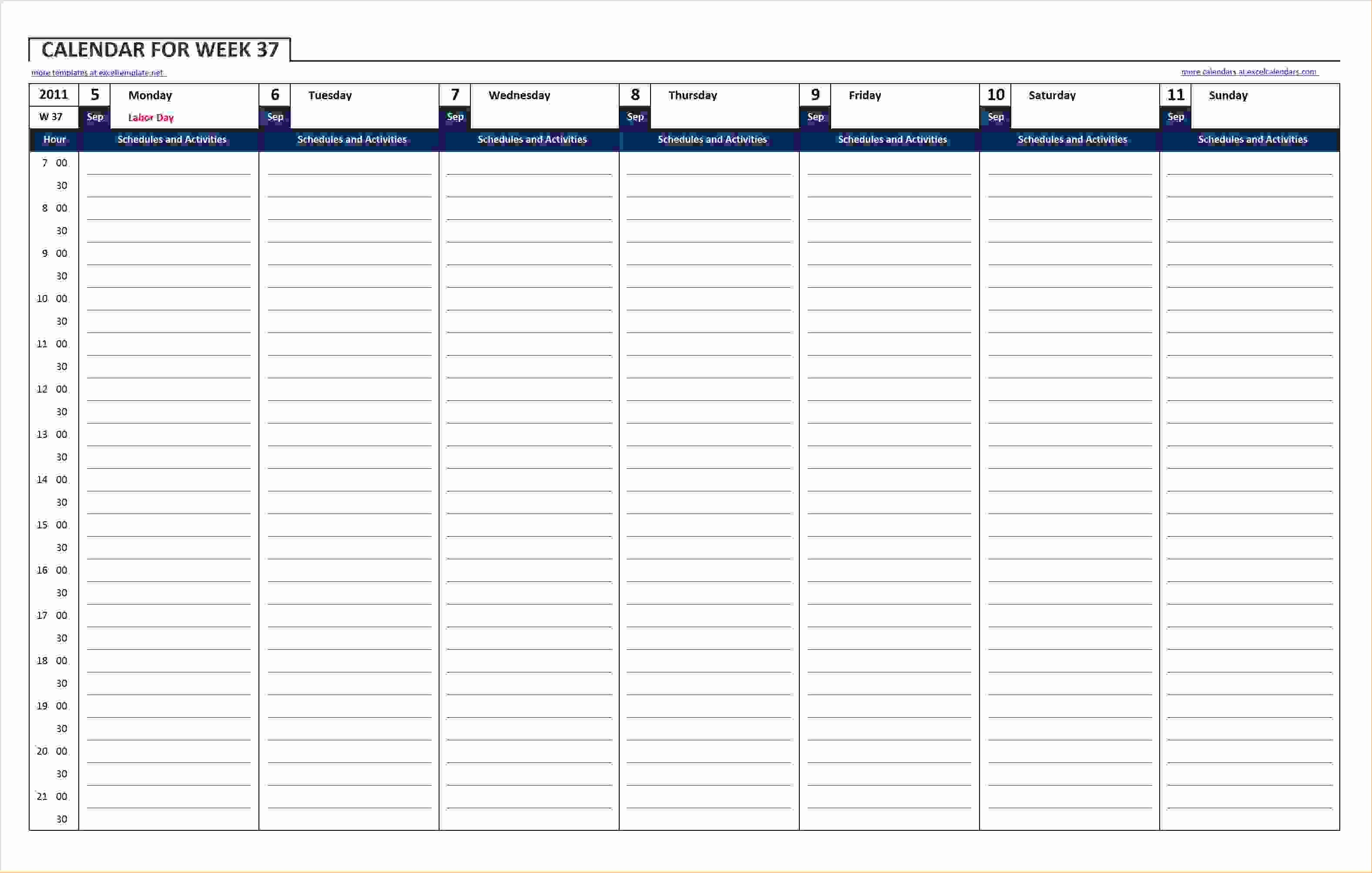 Microsoft Excel Weekly Schedule Template Elegant 8 Excel Weekly Calendar Template