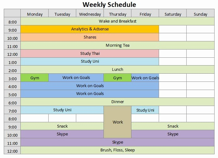 Microsoft Excel Weekly Schedule Template Inspirational 9 Weekly Schedule Templates Excel Templates