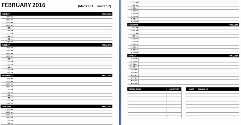 Microsoft Excel Weekly Schedule Template Inspirational Daily & Weekly Ms Word Planner Templates