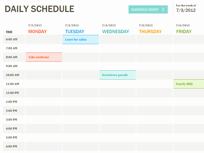 Microsoft Excel Weekly Schedule Template Inspirational Daily Schedule Template