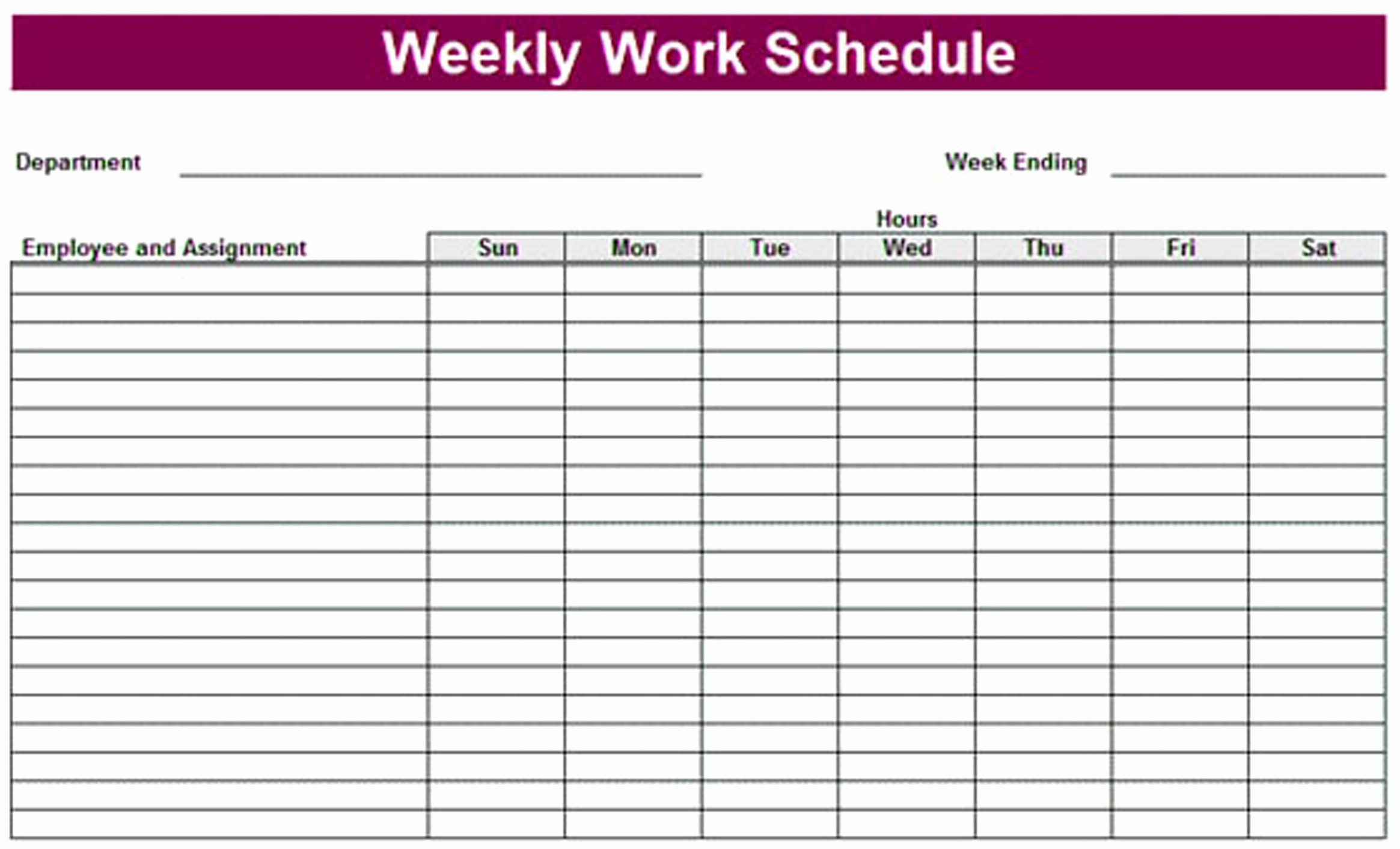 Microsoft Excel Weekly Schedule Template Inspirational Printable Weekly Schedule Template & Excel Planner