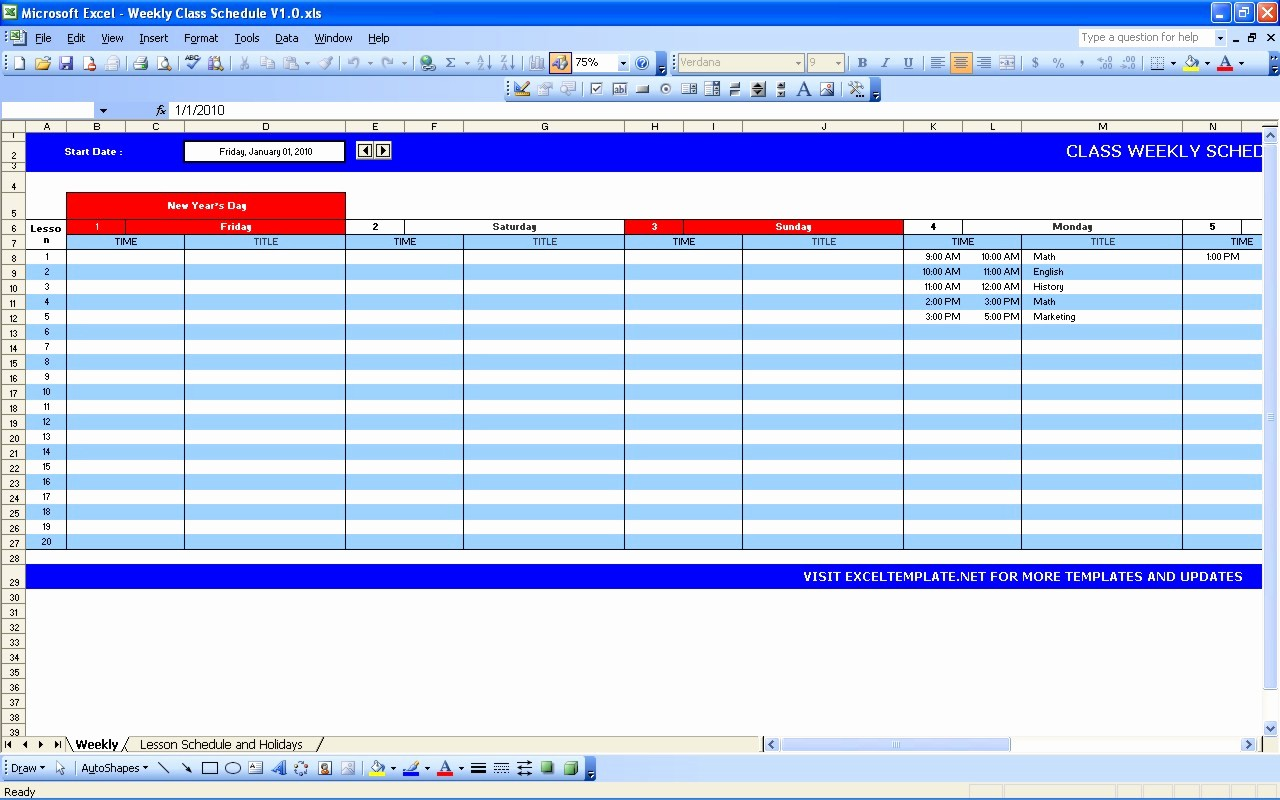Microsoft Excel Weekly Schedule Template Inspirational Weekly Class Schedule
