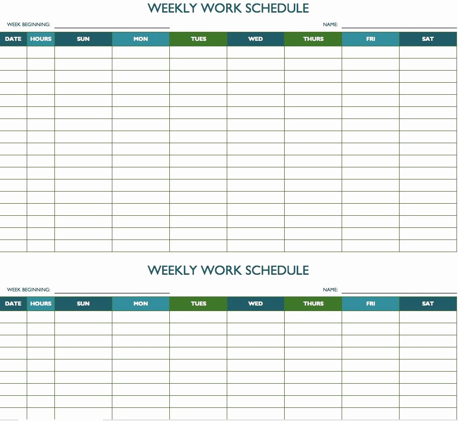 Microsoft Excel Weekly Schedule Template Lovely Free Weekly Schedule Templates for Excel Smartsheet