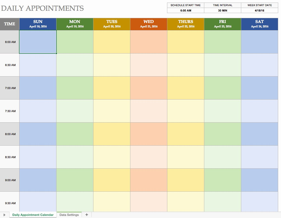 Microsoft Excel Weekly Schedule Template New Daily Schedule Template