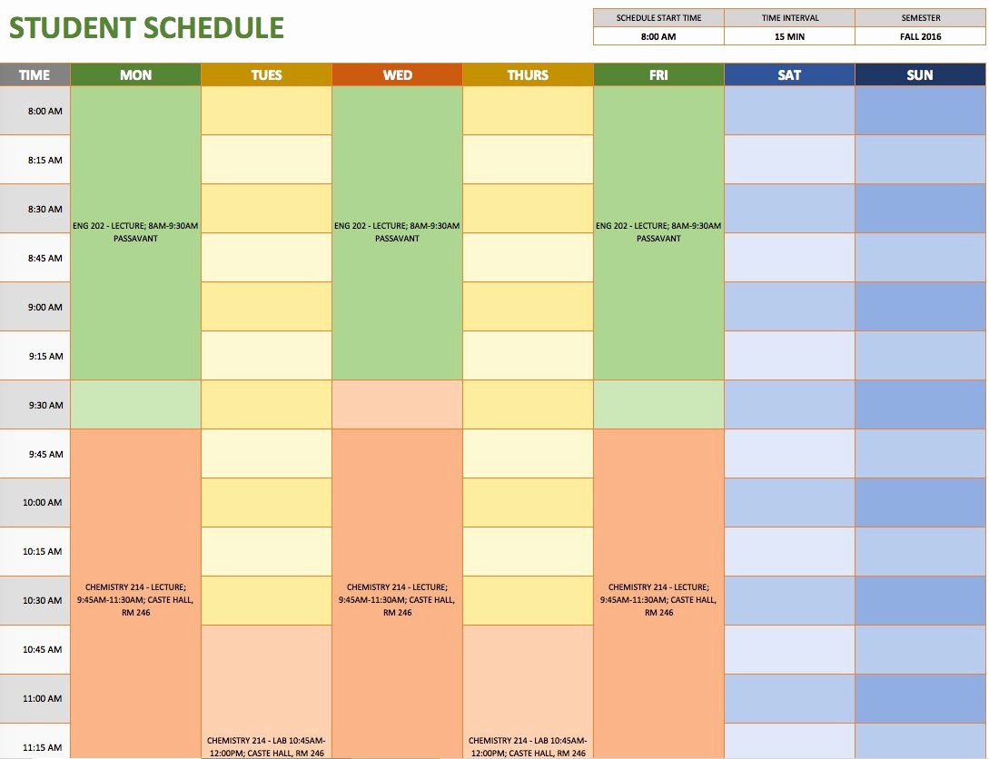 Microsoft Excel Weekly Schedule Template New Free Weekly Schedule Templates for Excel Smartsheet