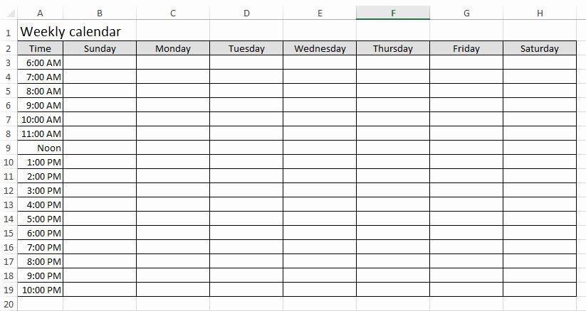 Microsoft Excel Weekly Schedule Template Unique Download Free Excel Examples Downloadexceltemplate
